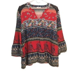 Tribal Blue and Red Boho Patterned Blouse